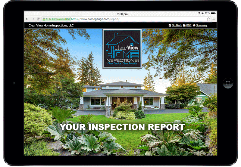 Laptop displaying an online home inspection report